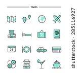 set of flat design  thin line... | Shutterstock .eps vector #285116927