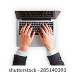 man hands on a laptop keyboard...   Shutterstock . vector #285140393