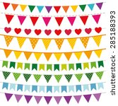 colorful vector bunting flags... | Shutterstock .eps vector #285188393