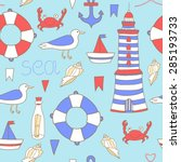 cute seamless pattern with sea... | Shutterstock . vector #285193733