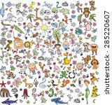 children's drawings of doodle... | Shutterstock .eps vector #285220607