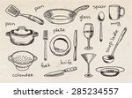 drawing tableware on the... | Shutterstock .eps vector #285234557