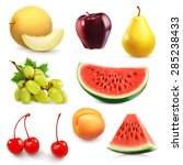 summer fruits  set of vector... | Shutterstock .eps vector #285238433