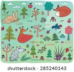 autumn kids pattern with animals | Shutterstock .eps vector #285240143