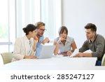 business people meeting around... | Shutterstock . vector #285247127