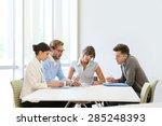 business people meeting around... | Shutterstock . vector #285248393