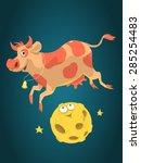 Cute Cartoon Cow Jumps Over Th...
