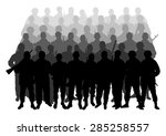 silhouettes of soldiers in the... | Shutterstock .eps vector #285258557