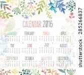 Calendar For 2016 With Flower