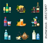 Vector drink icon set. Variety of flat serving beverages in ware  | Shutterstock vector #285272897
