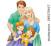 happy family. parents and kids. ... | Shutterstock .eps vector #285275417