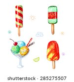 set of colorful ice cream hand... | Shutterstock . vector #285275507