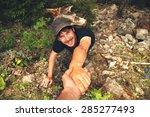 adventurers helping each other... | Shutterstock . vector #285277493