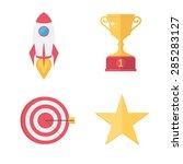 success awards icons set. flat...