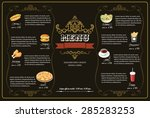 restaurant fast foods menu on... | Shutterstock .eps vector #285283253