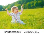 girl sitting on the grass and... | Shutterstock . vector #285290117