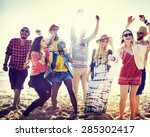 teenagers friends beach party... | Shutterstock . vector #285302417