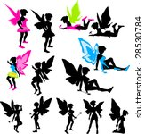 neon fairy bitmap silhouettes | Shutterstock . vector #28530784
