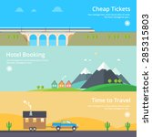 colorful vector flat banner set....   Shutterstock .eps vector #285315803
