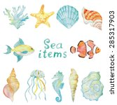 sea creatures watercolor vector ... | Shutterstock .eps vector #285317903