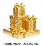 boxes of gold wrapping paper... | Shutterstock . vector #285352403