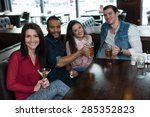 great beer party in a pub.... | Shutterstock . vector #285352823