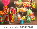Colorful Candies In Jars On...