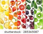 fresh fruit and vegetable....   Shutterstock . vector #285365087