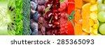 fresh fruit and vegetable...   Shutterstock . vector #285365093