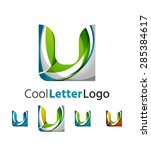 set of abstract u letter... | Shutterstock .eps vector #285384617