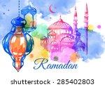 ramadan kareem. mosque night.... | Shutterstock .eps vector #285402803