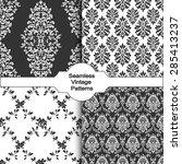 set of four seamless damask... | Shutterstock .eps vector #285413237