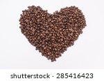 coffee beans in shape of heart. ... | Shutterstock . vector #285416423