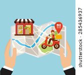 food delivery design  vector... | Shutterstock .eps vector #285436937