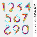 set of geometric digits. vector | Shutterstock .eps vector #285445493