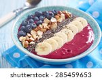 breakfast berry smoothie bowl... | Shutterstock . vector #285459653