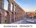 Ancient Roman Aqueduct On Plaz...