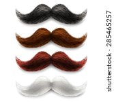 Old fashion upper lip long wax groomed and trimmed fake moustaches different color set abstract vector illustration