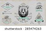 set of vintage  bear logo.... | Shutterstock .eps vector #285474263