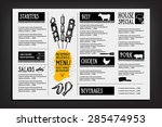 cafe menu restaurant brochure.... | Shutterstock .eps vector #285474953