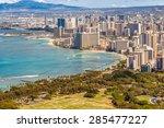 view of waikiki beach and... | Shutterstock . vector #285477227