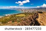 view of waikiki beach and... | Shutterstock . vector #285477233