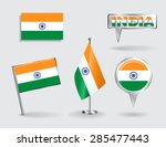 set of indian pin  icon and map ... | Shutterstock .eps vector #285477443