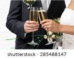 wedding  bride  champagne. | Shutterstock . vector #285488147