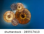 abstract  yellow lamp on blue...   Shutterstock . vector #285517613