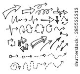 vector hand drawn arrows set... | Shutterstock .eps vector #285532313