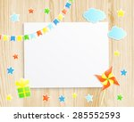 kids greeting card or... | Shutterstock .eps vector #285552593
