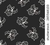 flower doodle seamless pattern... | Shutterstock .eps vector #285568103