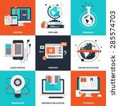 vector set of flat e learning... | Shutterstock .eps vector #285574703