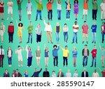 multiethnic casual people... | Shutterstock . vector #285590147